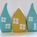 3 db színes házikó barátságos világító fehér ablakokkal lakásdekorációnak, ajándéknak, Otthon & lakás, Gyerek & játék, Dekoráció, Lakberendezés, Dísz, 3 db színes házikó barátságos világító fehér ablakokkal lakásdekorációnak, ajándéknak Vidám színes h..., Meska