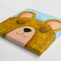 """Mackó maci, alvó szundikáló medvebocs eredeti festmény textúrás fali kép babaszoba gyerek dekoráció, keretezni nem kell, Otthon & lakás, Gyereknap, Ünnepi dekoráció, Dekoráció, Lakberendezés, Falikép, Bájos szendergő barna bundájú medvebocs árnyalatos világoskék hátéren. """"Szundikáló kis mackó"""" vidám ..., Meska"""