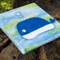 """Bálna, óceán víz alatti cet hal, kézzel festett fali kép baba gyerekszoba dekoráció """"Tengeri szeretet"""" festmény, Otthon & lakás, Gyerek & játék, Lakberendezés, Falikép, Gyerekszoba, Türkizes zöldes tengerben úszkáló csupa szív kék bálna, """"Tengeri szeretet"""" vidám színes festmény, ha..., Meska"""