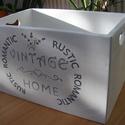 Festett fa tároló láda, Otthon, lakberendezés, Tárolóeszköz, Láda, Vintage Home feliratú fehér tömör fa tároló láda. Mérete: 30x50x33cm. Natúr fehér kivitelb..., Meska