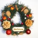 Klasszikus karácsonyi ajtódísz, Otthon, lakberendezés, Dekoráció, Ajtódísz, kopogtató, Ünnepi dekoráció, Karácsonyi, adventi apróságok, Karácsonyi dekoráció, Klasszikus karácsonyi hangulatú ajtó- vagy ablakdísz. Szalma koszorú alapon műfenyő bevonatta..., Meska