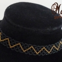 Cikk-cakk nyakpánt, fekete-bronz, Cseh kásákból fűztem, fekete alapon bronz cakk...