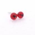 Apró nyári üveg fülbevalók, Kb. 3-4mm-es piros-fekete millefiori  kis virág. ...