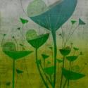 Reggel - zöld kép, Dekoráció, Képzőművészet, Kép, Illusztráció, 25x25 cm-es print 250 g/m2-es matt műnyomópapíron. A papír mérete 29x29cm, a fehér sávot le lehet vá..., Meska