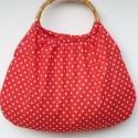 Piros-Pöttyös retró táska , Táska, Szatyor, Válltáska, oldaltáska, Nőies,piros-fehér pöttyös retró táska. Saját tervezésű,kivitelezésű darab! A pöttyök ig..., Meska