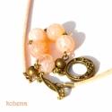 Peach nyakék, Roppantott barack jáde golyók (10 mm) antik réz...