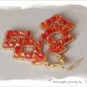 Tűz lángjai fülbevaló, Fireopal Xilion kristályokból készítettem ezt ...
