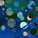 Bolygók - kék nyomat, Dekoráció, Képzőművészet, Kép, Illusztráció, 25x25 cm-es print 250 g/m2-es matt műnyomópapíron. A papír mérete 29x29cm, a fehér sávot le l..., Meska
