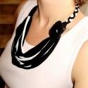 Fekete/fehér,  textil, sokszálas nyaklánc - aquamaryn-nak (cirrhopp) - Meska.hu