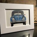 Volkswagen Bogár kép, kerettel, Otthon & Lakás, Dekoráció, Kép & Falikép, Festészet, Ez egy kék 1965-ös Volkswagen Bogár 10 x 15 cm-en, vászonprégelt papírra festve akril festékkel és ..., Meska