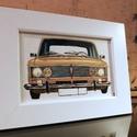 Lada 2103 kép, kerettel, Otthon & Lakás, Dekoráció, Kép & Falikép, Festészet, Ez egy sárga 2103-mas Lada 10 x 15 cm-en, vászonprégelt papírra festve akril festékkel és bekeretez..., Meska