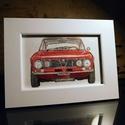 Alfa Romeo Giulia GT 1600 Junior kép, kerettel, Otthon & Lakás, Dekoráció, Kép & Falikép, Festészet, Ez egy piros Alfa Romeo Giulia GT 1600 Junior 10 x 15 cm-en, vászonprégelt papírra festve akril fes..., Meska