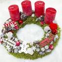 Piros gyönyör, Otthon, lakberendezés, Karácsonyi, adventi apróságok, Karácsonyi dekoráció, Koszorú, 20 cm átmérőjű, moha alapú koszorú természetes dekorációs elemekkel. A mini tobozok saját ..., Meska