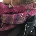 Liláspiros- mohazöld nemezelt selyem kendő, Ruha, divat, cipő, Kendő, sál, sapka, kesztyű, Kendő, Sál, Nemezelés,  Izgalmas ,változatosan hordható, nuno technikával ponge selyem,nemezelt  kendő. Egyik oldala sötét..., Meska