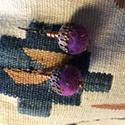 Nagy lila nemezelt golyó fülbevaló gyapjúból,réz-bronz kiegészítővel, Ékszer, Fülbevaló, Egy nagy lila nemez golyóból és réz-bronz színű gyöngyökből készült ez a mutatós kis aka..., Meska