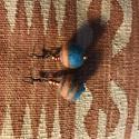 Nagy türkiz-narancs nemezelt golyó fülbevaló gyapjúból,réz-bronz kiegészítővel, Ékszer, Fülbevaló, Egy nagy narancssárga spirálbonallal díszített , türkiz , nemez golyóból, és réz-bronz szí..., Meska