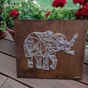 Geometric Elefánt string art, Baba-mama-gyerek, Otthon, lakberendezés, Dekoráció, Gyerekszoba, Mindenmás, 12mm-es nyír rétegelt lemezre, string art technikával készítettem a faliképet. A lemezt dió vékonyl..., Meska