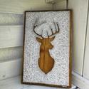Karácsonyi rénszarvas (Christmas reindeer) String Art, Baba-mama-gyerek, Otthon, lakberendezés, Férfiaknak, Horgászat, vadászat, Mindenmás, 12mm-es nyír rétegelt lemezre, string art technikával készítettem a faliképet. A lemezt dió vékonyl..., Meska