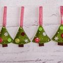 """""""Gombos fenyők"""" karácsonyfadísz szett, Dekoráció, Ünnepi dekoráció, Karácsonyi, adventi apróságok, Karácsonyfadísz, Filcből készült fenyőfák gombokkal, gyöngyökkel díszítve.  100%-ban kézzel varrva :)   Mé..., Meska"""