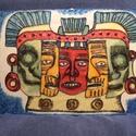 Maya Death Mask, Képzőművészet, Festmény, Festmény vegyes technika, Festészet, Festett tárgyak, Kézzel festett A4 méretű üvegfestmény. Ipari festékkel festett, 560 fokon égetett. (Nem kopik, nem ..., Meska