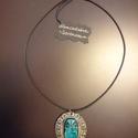 """Scarabeus medál, Ékszer, óra, Medál, Ékszerkészítés, Kőfaragás, Szerencsét hozó fém medál kaucsuk """"láncon"""". Egyiptomi kultúra és a türkiz szín kedvelőinek.. Farago..., Meska"""