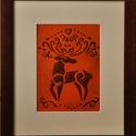 Csodaszarvas, Dekoráció, Otthon, lakberendezés, Kép, Falikép, tűzzománc: 10x14,5cm keret: 22x26cm, Meska