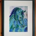Ló, Dekoráció, Otthon, lakberendezés, Kép, Falikép, tűzzománc: 14x20cm  keret: 25x32cm, Meska