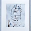 Fehér ló, Dekoráció, Otthon, lakberendezés, Kép, Falikép, 15X20cm keret: 25X30cm, Meska