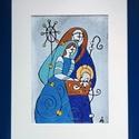 A  szent család, Dekoráció, Képzőművészet, Karácsonyi, adventi apróságok, Kép, Tűzzománc, 15X20 cm a tűzzománc,  27X33 cm kerettel Karácsonyi kép, Meska