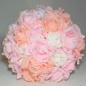 Barack örökcsokor, Esküvő, Esküvői csokor, Virágkötés, Menyasszonyi örökcsokor Rózsaszín, barack és fehér  színű rózsákból kötöttem, a virágok szirmain ap..., Meska