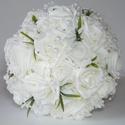 Fehér rózsacsokor + 1 ajándék vőlegénykitűző, Esküvő, Esküvői csokor, Virágkötés, A csokorban a virágok hófehér habrózsák, a csokor szára is fehér,kevés ezüst díszítéssel. A rózsák ..., Meska