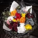 Asztaldísz, Dekoráció, Dísz, Asztaldísz, Mindenmás, Virágkötés, Drót alappal készített és textil virágokkal díszített asztaldísz. Most 2000 Ft feletti vásárlás ese..., Meska