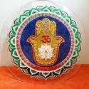 Hamsa-kéz Mandala, Dekoráció, Otthon, lakberendezés, Kép, Falikép, Üvegművészet, Festészet, Ezen a mandalámon több ősi szimbólum is található. A  lótuszvirág a lélek fejlődését, felemelkedésé..., Meska
