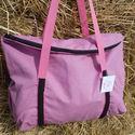 rózsaszín fekete paszomány díszítéssel egyterű nagy váll táska, Egyterű erős de könnyű táska sokat lehet bele...
