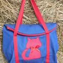 kék piros cica  táska, Egyterű erős de könnyű táska sokat lehet bele...