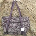 Barna szövet egyterű nagy váll táska utolsó lehetőség, Egyterű erős de könnyű táska sokat lehet bele...