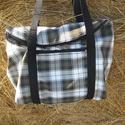 kockás táska zsebbel Ceruza12 megrendelésére, Egyterű erős de könnyű táska sokat lehet bele...