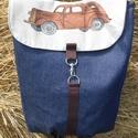 autós hátizsák, Kék farmer, amerikai pamutvászon designer anyag ...