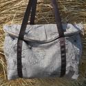 Barna szövet egyterű nagy váll táska , Egyterű erős de könnyű táska sokat lehet bele...