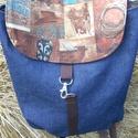 western mánia  hátizsák, Táska, Baba-mama-gyerek, Hátizsák, kék farmer, amerikai pamutvászon designer anyag  Cowboy mintával,beül pamutvászon bélés 2 zsebbel. Á..., Meska
