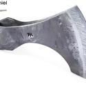 Kovácsolt acél viking szakállas balta damaszkolt éllel, [F_07b], [F_07b] === Kovácsolt acél viking szakállas bal...