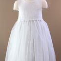 Tüll szoknyás rózsa öves kislány ruha, Ruha, divat, cipő, Esküvői ruha, Gyerekruha, Gyerek (4-10 év), Varrás, Törtfehér színű lányka ruha.  Anyaga magában mintás, vékony, fényes szövet.  Szoknya részen két rét..., Meska