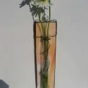 Kikelet-tavaszi virágtartó fali váza, Dekoráció, Esküvő, Otthon, lakberendezés, Kaspó, virágtartó, váza, korsó, cserép, Ez a darab barack,opál üvegből készült,feketére antikoltam.Középen egy kis ezüst pillangó ..., Meska