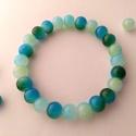 Kékből a zöldbe, 8 mm-es, színátmenetes üveggyöngyből, rugalma...