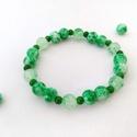 Zöldek, 8 és 4 mm-es kerek üveggyöngyből, rugalmas dam...