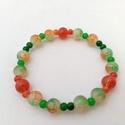 Zöld és piros, 8 és 4 mm-es üveggyöngyből, rugalmas damilra f...