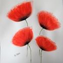 piros pipacs akvarell festmény, Képzőművészet, Festmény, Akvarell, Festészet, Saját készítésű, egyedi akvarell festmény; Méret: 40x29,5 cm, Meska