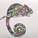 Kaméleon, Képzőművészet, Grafika, Metszet, Fekete kartonból metszettem, a színes háttér akrilfesték és karton felhasználásával készü..., Meska