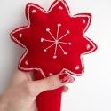 Hímzett, egyedi karácsonyfadísz, csúcsdísz, betlehemi csillag, piros-fehér, Piros filcből készítettem csillag alakú csúcs...