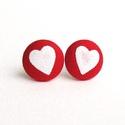 Piros Valentin szív MINI fülbevaló - Szerelmes sorozat, Ékszer, Szerelmeseknek, Fülbevaló, Tűzpiros egyszínű textilből készült MINI fülbevaló alapra festettem fehér szívecskéket. Átmérőjük 1,..., Meska